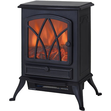 Cheminée électrique poêle style rétro thermostat 1000-2000 W noir