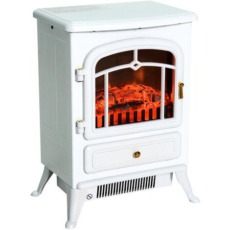 Cheminée électrique poêle style rétro thermostat 900-1800 W blanc