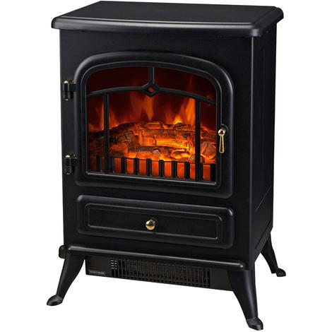 Cheminée électrique poêle style rétro thermostat 900-1800 W noir