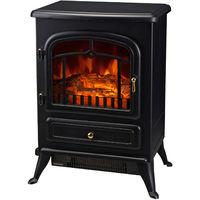 Cheminée électrique poêle style rétro thermostat 950-1850 W noir