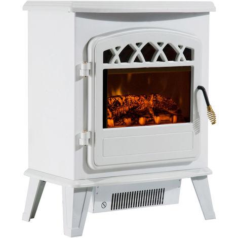 Cheminée électrique radiateur imitation flamme avec luminosité et réglable 900 W / 1800 W porte métal verre trempé blanc