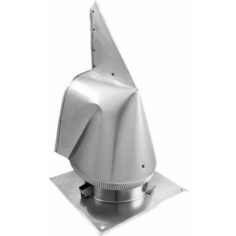 Cheminée en acier capot rotowent base carrée OCCHde 200mm