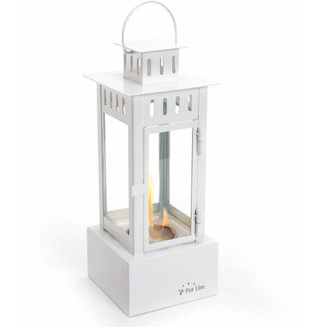 Cheminée lanterne de table blanc avec verre trempé