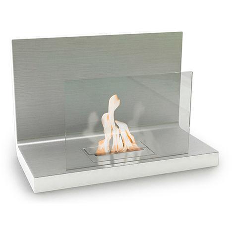 Cheminée murale - bio éthanol - contemporaine - Blanche VPF-OXY-452W-Glossy White Blanc brillant