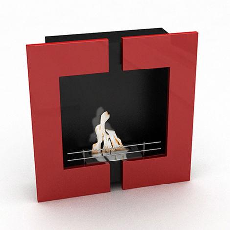 Cheminée murale - bio éthanol - contemporaine - Rouge Rouge