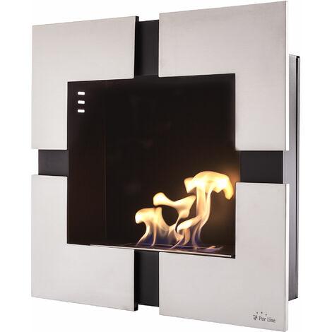 Cheminée murale bio-éthanol en acier inoxydable avec régulateur de flamme