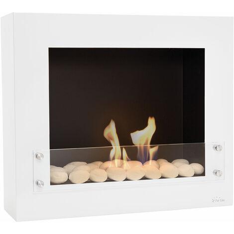 """main image of """"Cheminée murale bio-éthanol laquée blanc avec verre de protection - Blanc"""""""