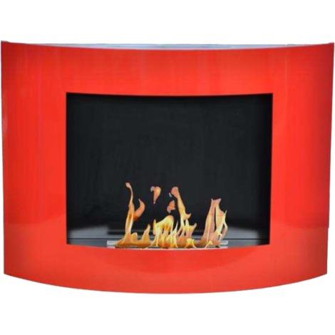 Cheminée murale bioéthanol Bio Oval 1200 ml rouge