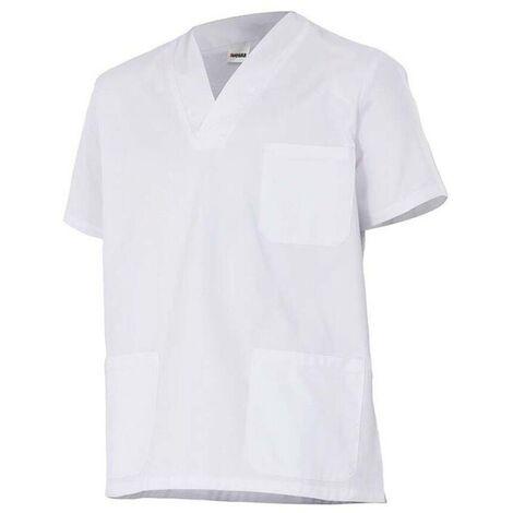 Chemisette d'entretien et santé manches courtes homme 65% polyester 35% coton 190 gr/m2 - Blanc - 587 - Velilla