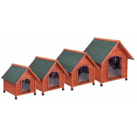 Chenil chien chiens domestiques réel en bois massif résistant aux intempéries ROMA M: B 78 x P 88 x H 81 cm