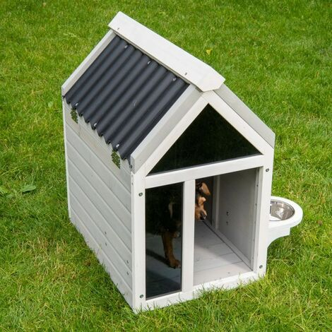 Chenil chien chiens domestiques réel en bois massif taille M Weatherproof CORSE: B 55 x 81 T x H 87,5 cm