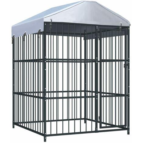 Chenil d'extérieur avec toit pour chiens 150x150x210 cm