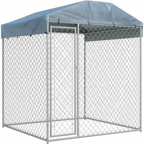 Chenil d'extérieur avec toit pour chiens 193x193x225 cm