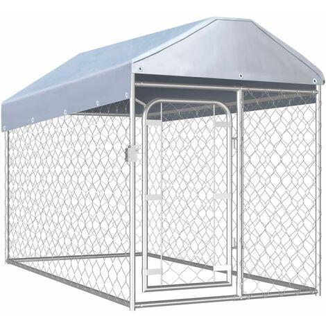 Chenil d'extérieur avec toit pour chiens 200 x 100 x 125 cm