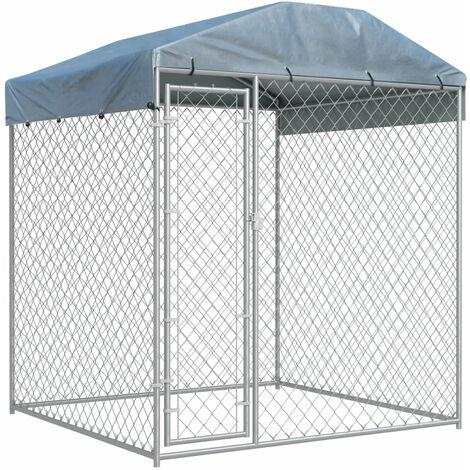 Chenil d'exterieur avec toit pour chiens 2x2x2,1 m