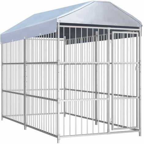 Chenil d'extérieur avec toit pour chiens 300 x 150 x 200 cm