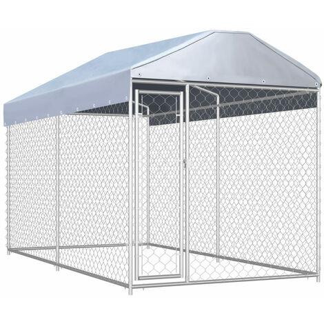Chenil d'exterieur avec toit pour chiens 382x192x235 cm