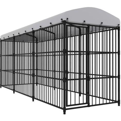 Chenil d'exterieur avec toit pour chiens 450x150x210 cm