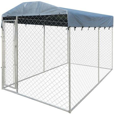 Chenil d'extérieur avec toit pour chiens 4x2x2,4 m