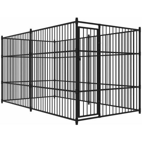 chenil d 39 ext rieur pour chiens 400 x 200 cm 170503. Black Bedroom Furniture Sets. Home Design Ideas