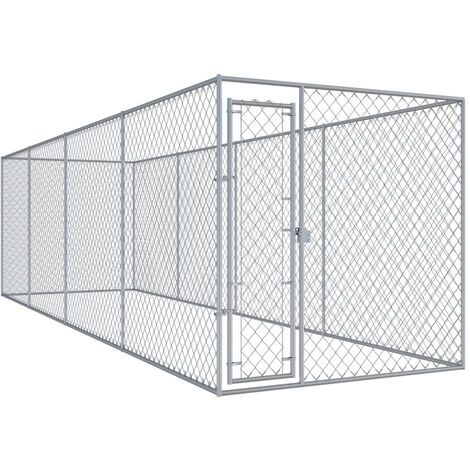 Chenil d'exterieur pour chiens 7,6x1,9x2 m