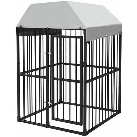 Chenil extérieur avec toit pour chiens 1,2x1,2x1,9 m