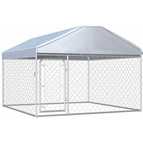 Chenil extérieur avec toit pour chiens 200 x 200 x 135 cm Clôture pour chien