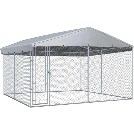 Chenil extérieur avec toit pour chiens 3,8x3,8x2,4 m
