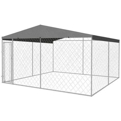 chenil ext rieur avec toit pour chiens 4 x 4 m 142295. Black Bedroom Furniture Sets. Home Design Ideas