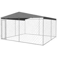 Chenil extérieur avec toit pour chiens 4 x 4 m