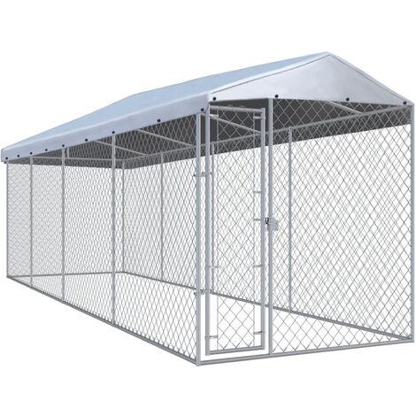 Chenil exterieur avec toit pour chiens 7,6x1,9x2,4 m
