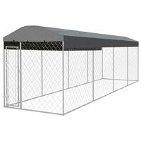 Chenil extérieur avec toit pour chiens 8 x 2 m