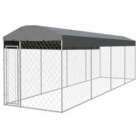 Chenil extérieur avec toit pour chiens 8 x 2 x 2,4 m