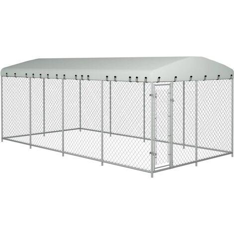 Chenil extérieur avec toit pour chiens 8 x 4 x 2 m