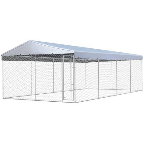 chenil ext rieur avec toit pour chiens acier galvanis 8 x. Black Bedroom Furniture Sets. Home Design Ideas
