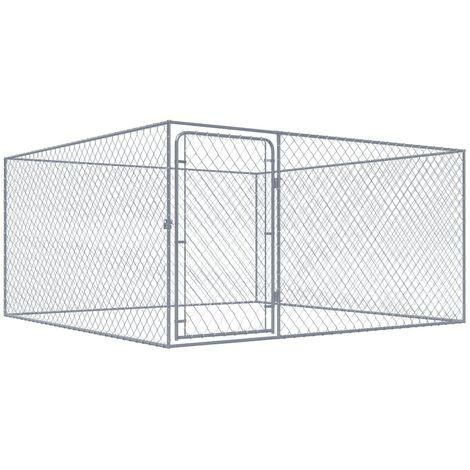 Chenil extérieur pour chiens Acier galvanisé 2x2x1 m