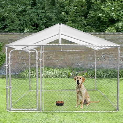 Chenil grillagé 3x3 m avec toit pour chiens 9 m²
