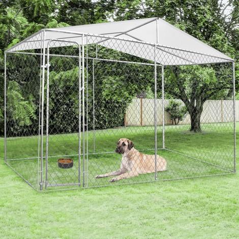 Chenil grillagé 4x2 m avec toit pour chiens 8 m²