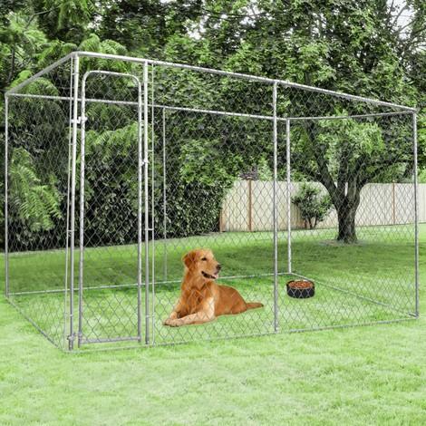 Chenil grillagé 4x2 m pour chiens 8 m²