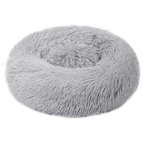 Chenil pour chien chenil pour chat a poil long rond Teddy hiver tapis chaud pour animaux de compagnie, gris de haute qualitetaille S, diametre 40 cm