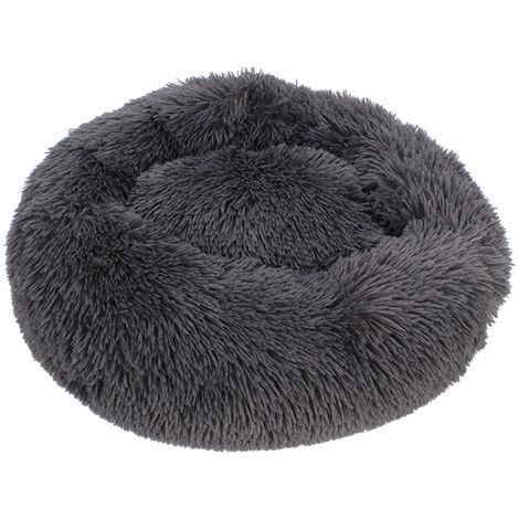 Chenil pour chien chenil pour chat poil long rond en peluche hiver chaud tapis pour animaux de compagnie gris fonc¨¦