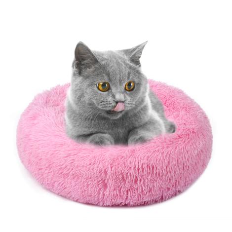 Chenil pour chien chenil pour chat poil long rond Teddy hiver tapis chaud pour animaux de compagnie, rose peche, taille S, diametre 40cm