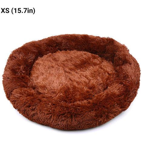 Chenil pour chien Chenil rond coreen en peluche pour animaux de compagnie, marron XS 40CM