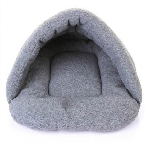 Chenil pour chien Sac de couchage chaud pour animaux de compagnie Chenil pour chien chaud d'hiver semi-ferm¨¦ Chenil gris