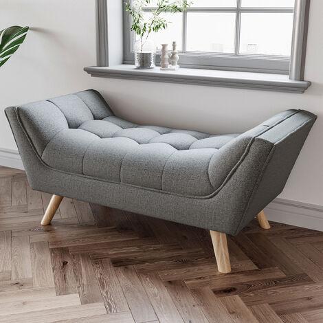 Chenille Footstool Window Seat Bench