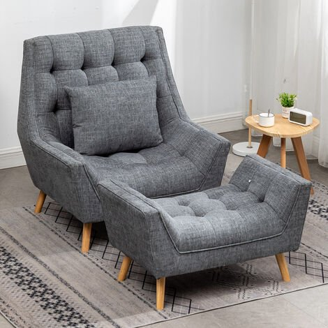Chenille Lounge Armchair And Footstool