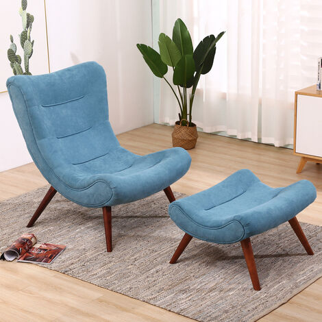 Chenille Recline Lounge Chair And Footstool