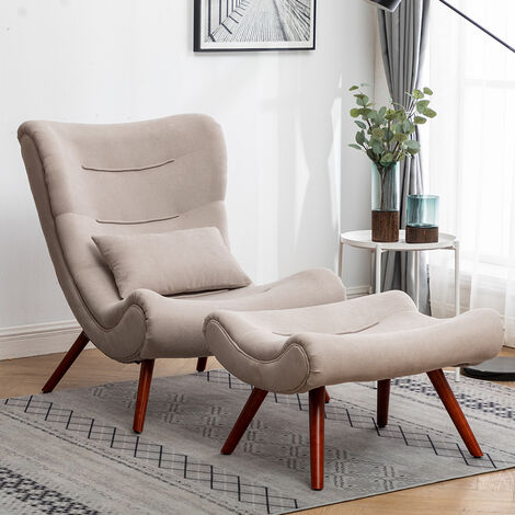 """main image of """"Chenille Recline Lounge Chair And Footstool"""""""