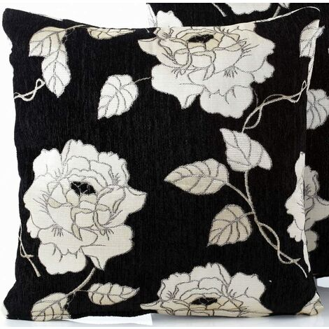 """Chenille Rose 18"""" Black Cushion Cover Bed Sofa Accessory Unfilled"""