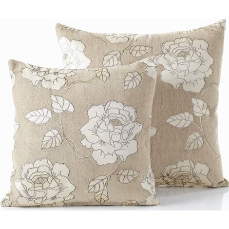 """Chenille Rose 18"""" Cream Cushion Cover Bed Sofa Accessory Unfilled"""